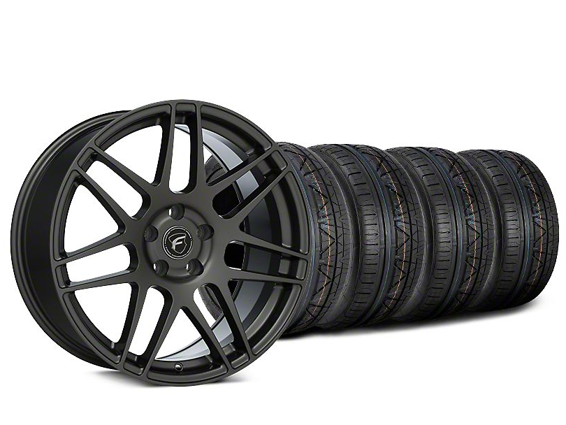 Staggered Forgestar F14 Gunmetal Wheel & NITTO INVO Tire Kit - 19x9/10 (15-19 GT, EcoBoost, V6)