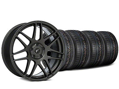 Staggered Forgestar F14 Gunmetal Wheel & NITTO INVO Tire Kit - 19x9/10 (15-18 GT, EcoBoost, V6)