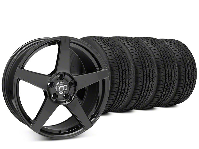 Staggered Forgestar CF5 Piano Black Wheel & Michelin Pilot Sport A/S 3+ Tire Kit - 19x9/10 (15-17 All)