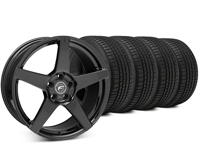 Staggered Forgestar CF5 Piano Black Wheel & Michelin Pilot Sport A/S 3+ Tire Kit - 19x9/10 (15-19 All)