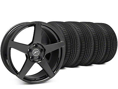 Staggered Forgestar CF5 Piano Black Wheel & Michelin Pilot Sport A/S 3+ Tire Kit - 19x9/10 (15-18 All)