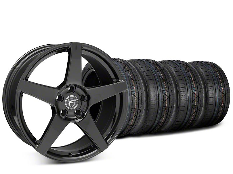 Staggered Forgestar CF5 Piano Black Wheel & NITTO INVO Tire Kit - 19x9 (15-17 All)