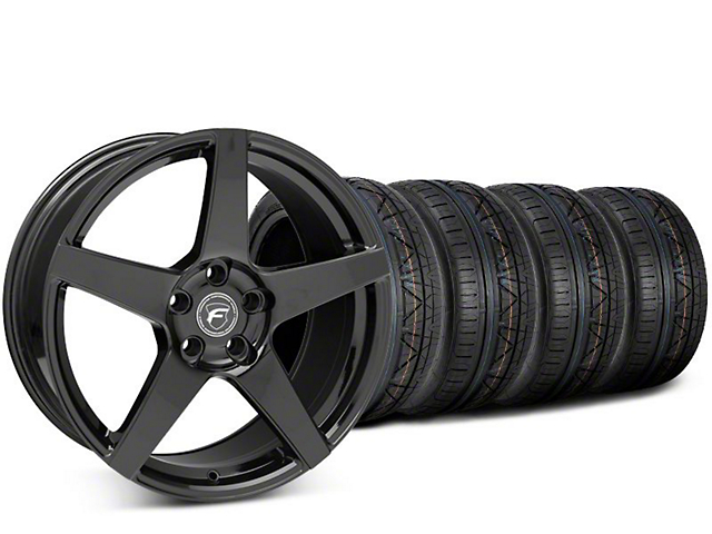 Staggered Forgestar CF5 Piano Black Wheel & NITTO INVO Tire Kit - 19x9 (15-18 All)