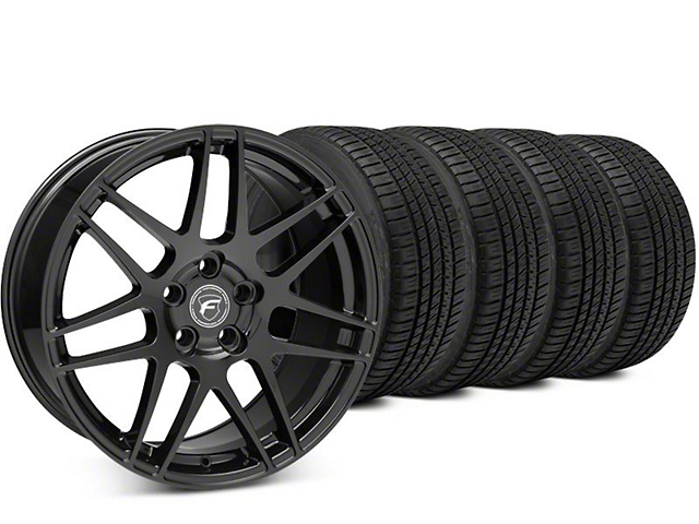 Staggered Forgestar F14 Piano Black Wheel & Michelin Pilot Sport A/S 3+ Tire Kit - 19x9/10 (15-18 All)