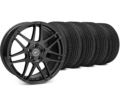 Staggered Forgestar F14 Piano Black Wheel & Michelin Pilot Sport A/S 3+ Tire Kit - 19x9/10 (15-17 All)