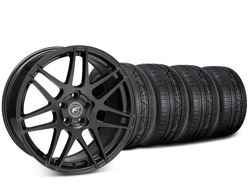 Staggered Forgestar F14 Piano Black Wheel & NITTO INVO Tire Kit - 19x9/10 (15-19 GT, EcoBoost, V6)