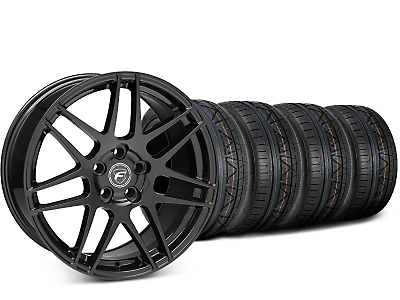 Staggered Forgestar F14 Piano Black Wheel & NITTO INVO Tire Kit - 19x9/10 (15-18 GT, EcoBoost, V6)