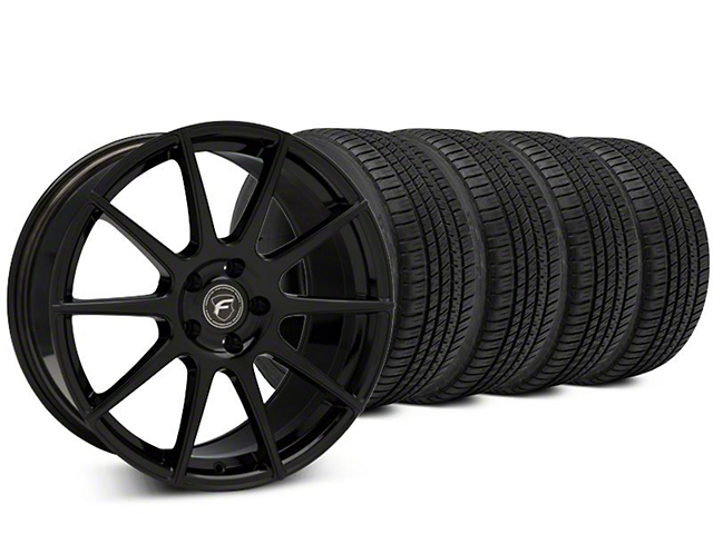 Staggered Forgestar CF10 Piano Black Wheel & Michelin Pilot Sport A/S 3+ Tire Kit - 19x9/10 (15-18 All)
