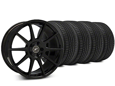 Staggered Forgestar CF10 Piano Black Wheel & Michelin Pilot Sport A/S 3+ Tire Kit - 19x9/10 (15-19 All)