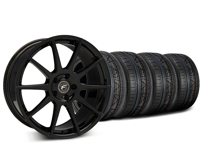 Staggered Forgestar CF10 Piano Black Wheel & NITTO INVO Tire Kit - 19x9 (15-18 GT, EcoBoost, V6)