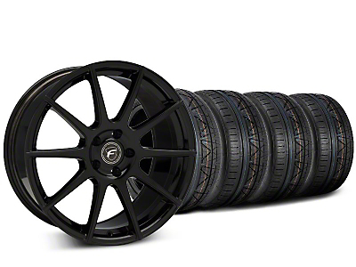 Staggered Forgestar CF10 Piano Black Wheel & NITTO INVO Tire Kit - 19x9 (15-18 All)