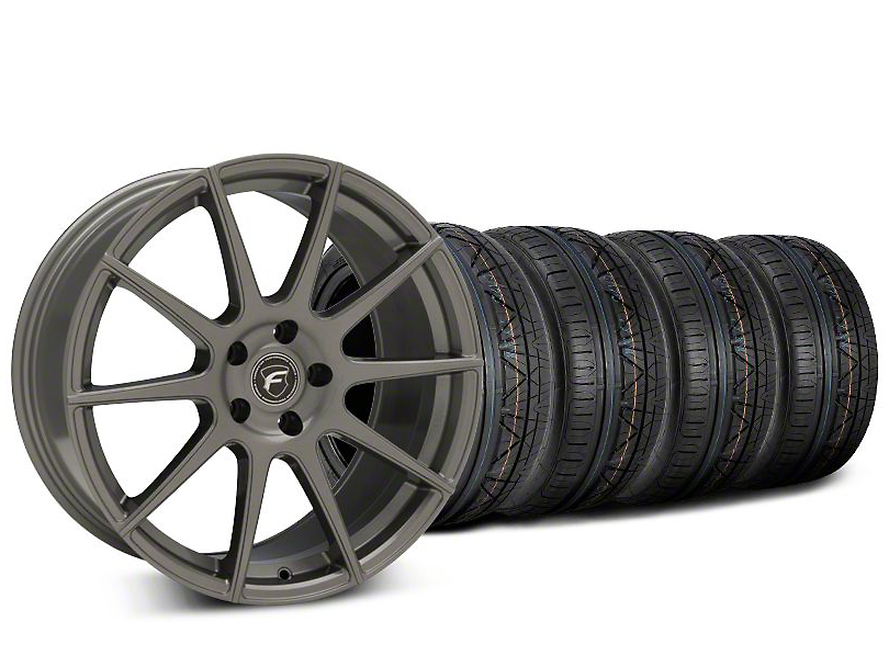 Staggered Forgestar CF10 Gunmetal Wheel & NITTO INVO Tire Kit - 19x9 (15-19 GT, EcoBoost, V6)