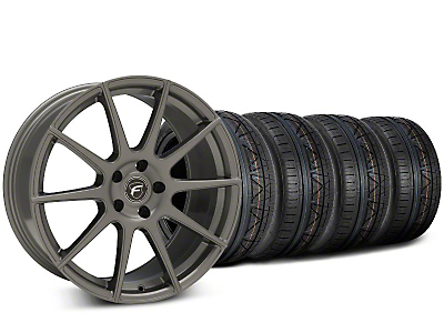 Staggered Forgestar CF10 Gunmetal Wheel & NITTO INVO Tire Kit - 19x9 (15-18 GT, EcoBoost, V6)