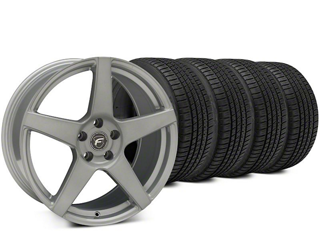 Staggered Forgestar CF5 Silver Wheel & Michelin Pilot Sport A/S 3+ Tire Kit - 19x9/10 (15-19 All)