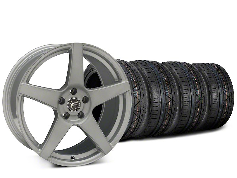 Staggered Forgestar CF5 Silver Wheel & NITTO INVO Tire Kit - 19x9 (15-19 GT, EcoBoost, V6)