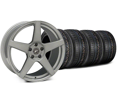 Staggered Forgestar CF5 Silver Wheel & NITTO INVO Tire Kit - 19x9 (15-18 GT, EcoBoost, V6)