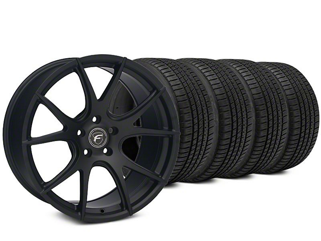 Staggered Forgestar CF5V Matte Black Wheel & Michelin Pilot Sport A/S 3+ Tire Kit - 19x9/10 (15-18 All)