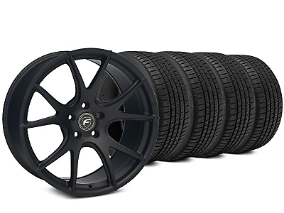 Staggered Forgestar CF5V Matte Black Wheel & Michelin Pilot Sport A/S 3+ Tire Kit - 19x9/10 (15-17 All)