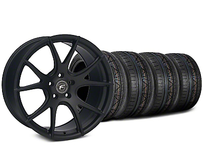 Staggered Forgestar CF5V Matte Black Wheel & NITTO INVO Tire Kit - 19x9 (15-18 GT, EcoBoost, V6)