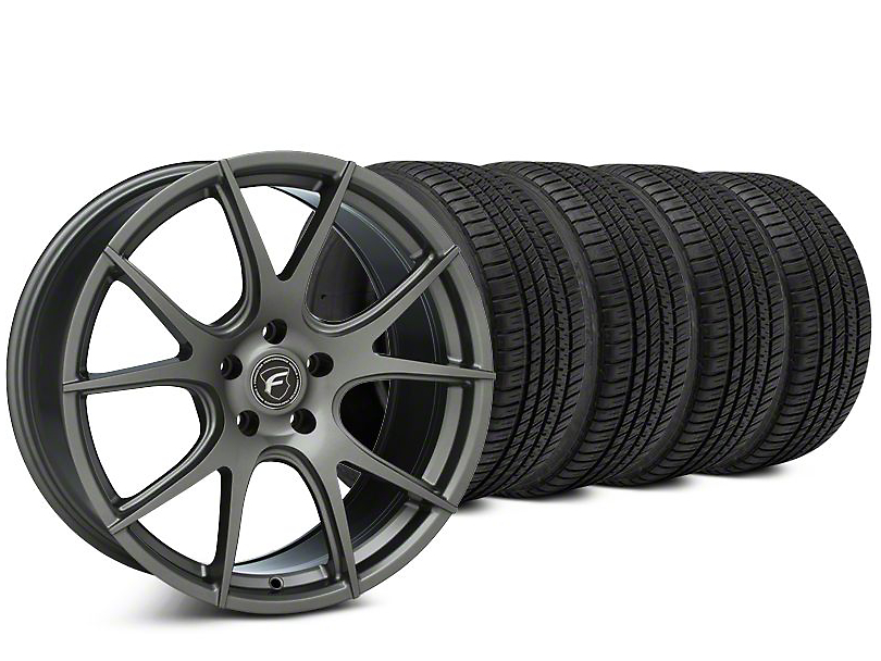 Staggered Forgestar CF5V Gunmetal Wheel & Michelin Pilot Sport A/S 3+ Tire Kit - 19x9/10 (15-18 All)