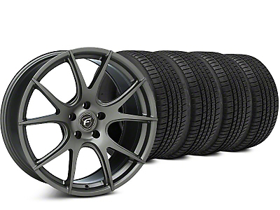 Staggered Forgestar CF5V Gunmetal Wheel & Michelin Pilot Sport A/S 3+ Tire Kit - 19x9/10 (15-17 All)