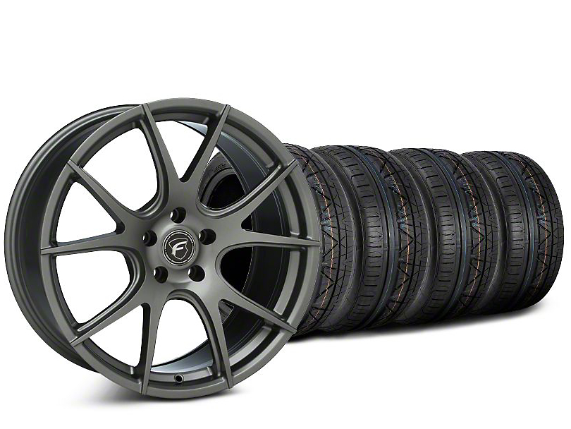 Staggered Forgestar CF5V Gunmetal Wheel & NITTO INVO Tire Kit - 19x9/10 (15-20 GT, EcoBoost, V6)
