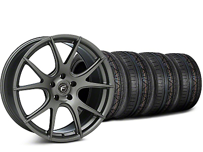 Staggered Forgestar CF5V Gunmetal Wheel & NITTO INVO Tire Kit - 19x9/10 (15-18 GT, EcoBoost, V6)