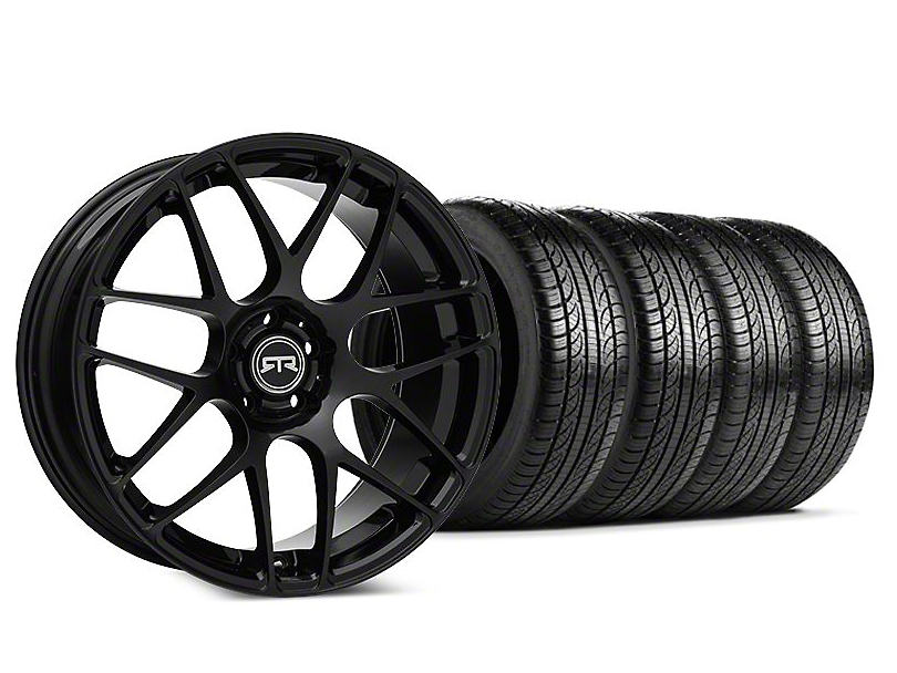 Staggered RTR Black Wheel & Pirelli P-Zero Nero Tire Kit - 19x8.5 (15-19 GT, EcoBoost, V6)