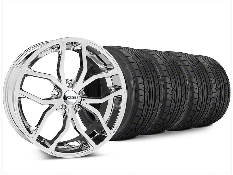 Staggered Foose Outcast Chrome Wheel & NITTO NT555 G2 Tire Kit - 20x8.5/10 (15-19 All)