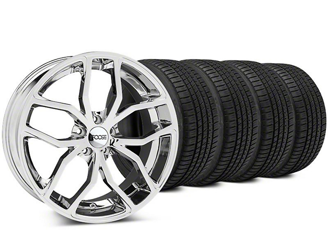Staggered Foose Outcast Chrome Wheel & Michelin Pilot Sport A/S 3+ Tire Kit - 20x8.5/10 (15-20 GT, EcoBoost, V6)