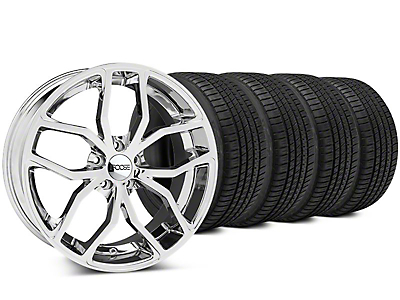 Staggered Foose Outcast Chrome Wheel & Michelin Pilot Sport A/S 3+ Tire Kit - 20x8.5/10 (15-17 All)