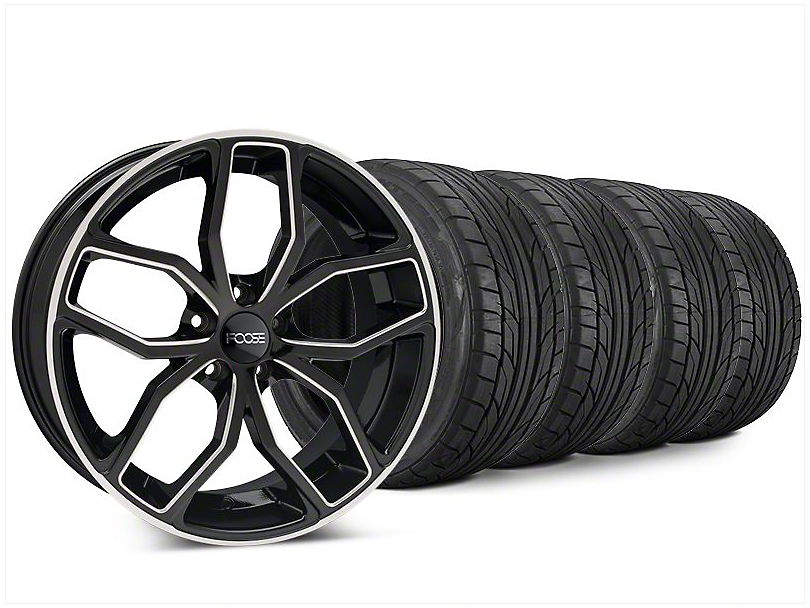 Staggered Foose Outcast Black Machined Wheel & NITTO NT555 G2 Tire Kit - 20x8.5/10 (15-17 All)