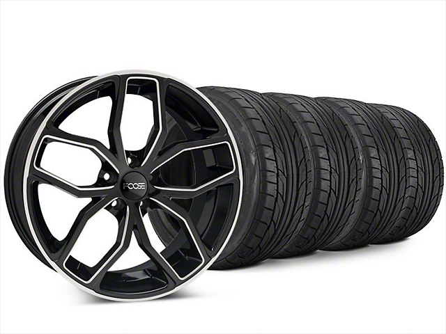 Staggered Foose Outcast Black Machined Wheel & NITTO NT555 G2 Tire Kit - 20x8.5/10 (15-18 All)