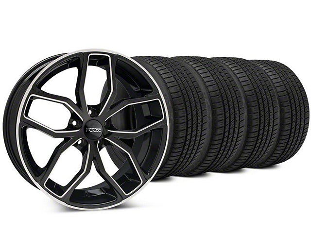 Staggered Foose Outcast Black Machined Wheel & Michelin Pilot Sport A/S 3+ Tire Kit - 20x8.5/10 (15-18 All)