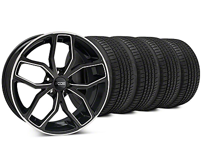 Staggered Foose Outcast Black Machined Wheel & Michelin Pilot Sport A/S 3+ Tire Kit - 20x8.5/10 (15-17 All)