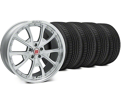 Staggered Shelby CS40 Silver Machined Wheel & Michelin Pilot Sport A/S 3+ Tire Kit - 20x9/10 (15-18 All)