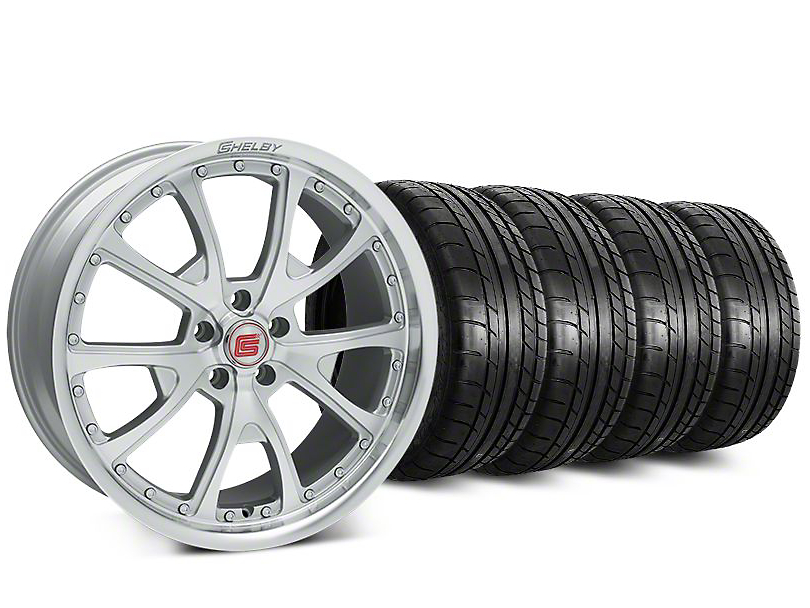 Staggered Shelby CS40 Silver Machined Wheel & Mickey Thompson Street Comp Tire Kit - 20 in. - 2 Rear Options (15-18 GT, EcoBoost, V6)