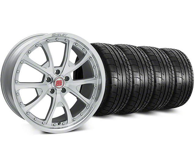 Staggered Shelby CS40 Silver Machined Wheel & Mickey Thompson Street Comp Tire Kit - 20 in. - 2 Rear Options (15-17 All)