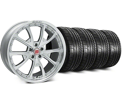 Staggered Shelby CS40 Silver Machined Wheel & Mickey Thompson Street Comp Tire Kit - 20 in. - 2 Rear Options (15-19 GT, EcoBoost, V6)