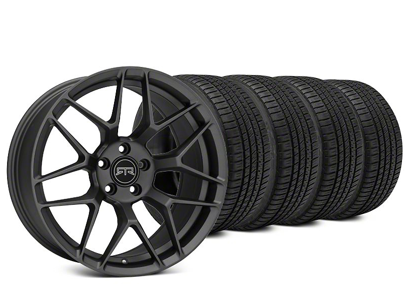 Staggered RTR Tech 7 Charcoal Wheel & Michelin Pilot Sport A/S 3+ Tire Kit - 20x9.5/10.5 (15-20 GT, EcoBoost, V6)