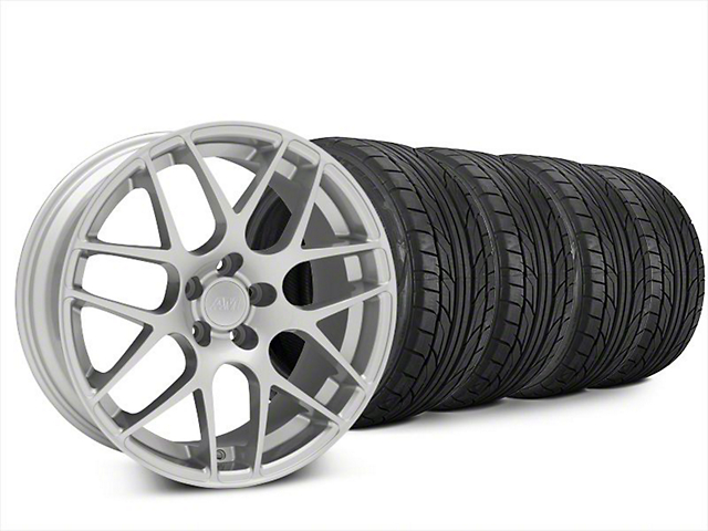 Staggered AMR Silver Wheel & NITTO NT555 G2 Tire Kit - 20x8.5/10 (15-18 GT, EcoBoost, V6)