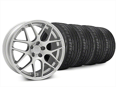 Staggered AMR Silver Wheel & NITTO NT555 G2 Tire Kit - 20x8.5/10 (15-19 GT, EcoBoost, V6)