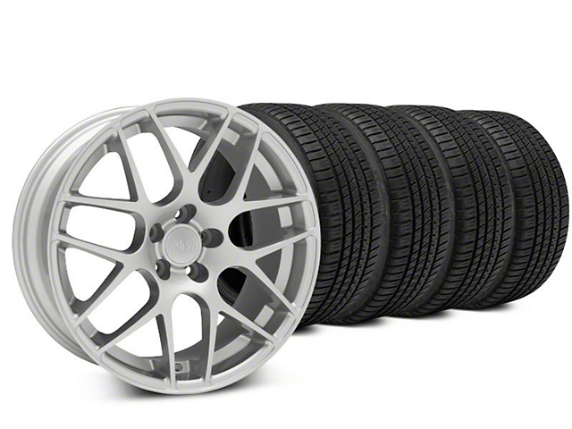 Staggered AMR Silver Wheel & Michelin Pilot Sport A/S 3+ Tire Kit - 20x8.5/10 (15-18 GT, EcoBoost, V6)