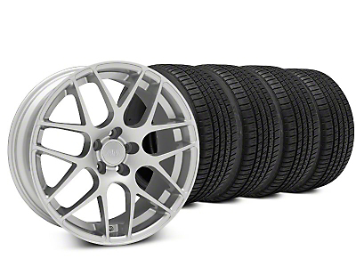 Staggered AMR Silver Wheel & Michelin Pilot Sport A/S 3+ Tire Kit - 20x8.5/10 (15-19 GT, EcoBoost, V6)