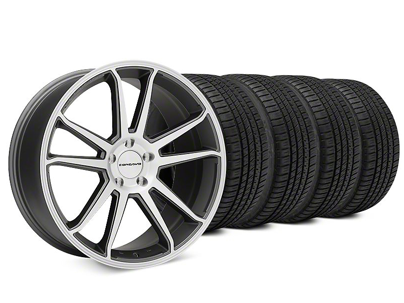 Staggered Concavo CW-S5 Matte Gray Machined Wheel & Michelin Pilot Sport A/S 3+ Tire Kit - 20x9/10.5 (15-17 All)
