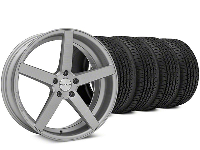 Staggered Rovos Durban Brushed Wheel & Michelin Pilot Sport A/S 3+ Tire Kit - 20x8.5/10 (15-18 All)