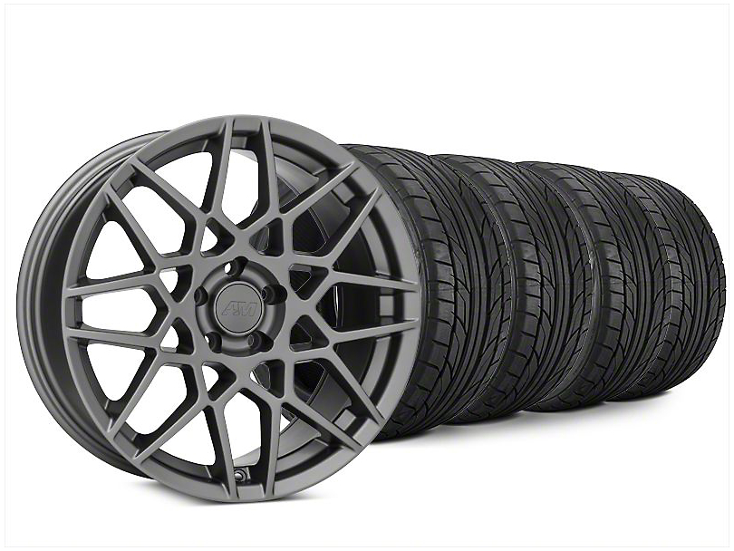 Staggered 2013 GT500 Style Charcoal Wheel & NITTO NT555 G2 Tire Kit - 20x8.5/10 (15-17 GT, EcoBoost, V6)