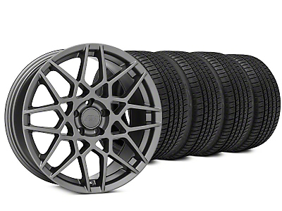 Staggered 2013 GT500 Style Charcoal Wheel & Michelin Pilot Sport A/S 3+ Tire Kit - 20x8.5/10 (15-18 GT, EcoBoost, V6)