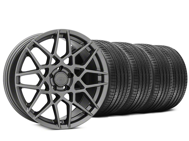 Staggered 2013 GT500 Style Charcoal Wheel & Sumitomo HTR Z III Tire Kit - 20x8.5 (15-18 GT, EcoBoost, V6)