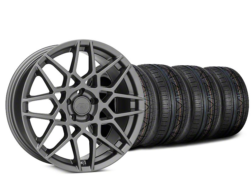 Staggered 2013 GT500 Style Charcoal Wheel & NITTO INVO Tire Kit - 20x8.5 (15-17 GT, EcoBoost, V6)